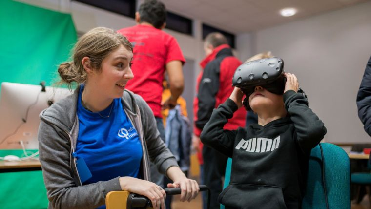 A child trying out a virtual reality headset