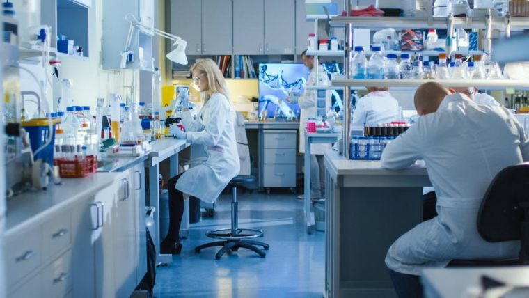 Research scientists working in laboratory