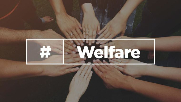 A photo of hands together, overlaid with the word welfare.