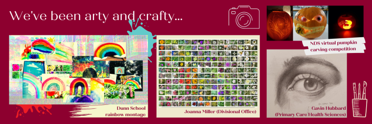 Digital rainbox montage by Dunn School, wall of flowers by Joanna Miller in MSDO, drawing of an eye by Gavin Hubbard of Primary Care and NDS Pumpkin Carving Competition