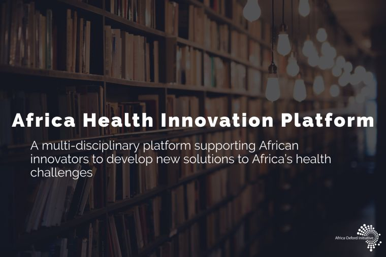 Photo of well stocked bookshelves, with the text: Africa health Innovation Platform, a multi-disciplinaty platform supporting African innovators to develop new solutions to Africa's health challenges