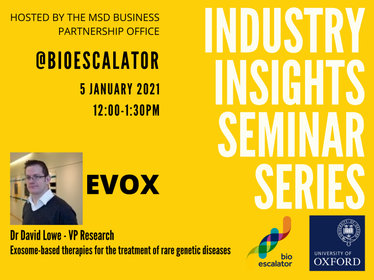 Flyer for the Industry Insights Seminar Series: Exosome-based therapies for the treatment of rare genetic diseases 5th January 2021 12:00-1:30pm