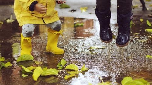 Toddler in yellow rainboots