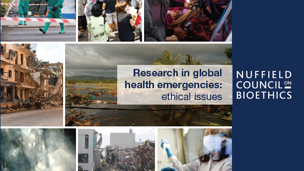 Poster with a variety of images relating to Research Global Health Emergencies