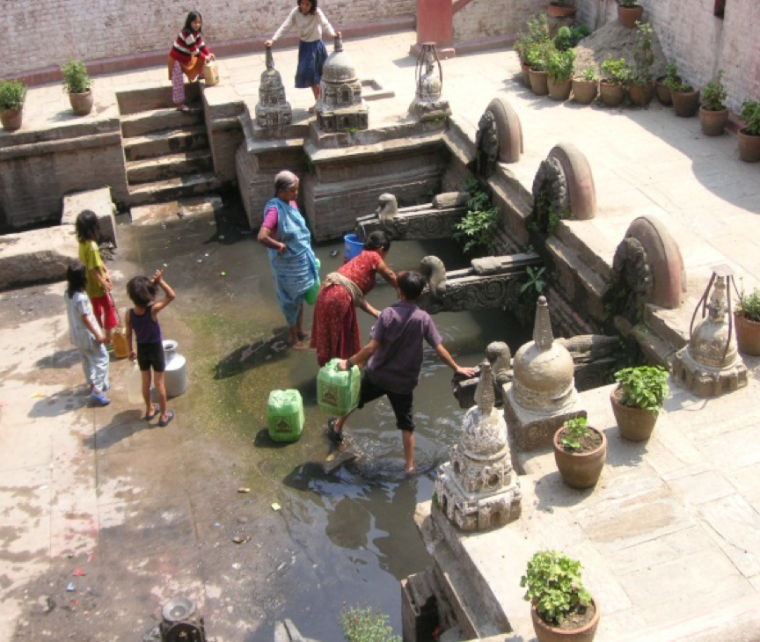 Nepalese people in a fountain