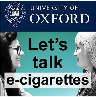 'Let's talk e-cigarettes' podcast advert with Jamie Hartmann-Boyce and Nicola Lindson facing each other, smiling