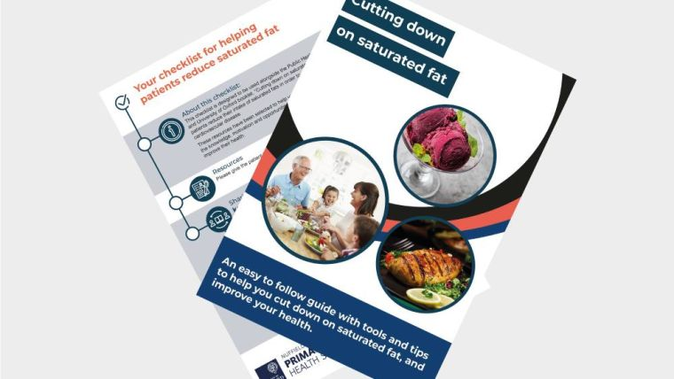 An image of the cover of the reducing salt and saturated fat patient booklets and nurse checklists.