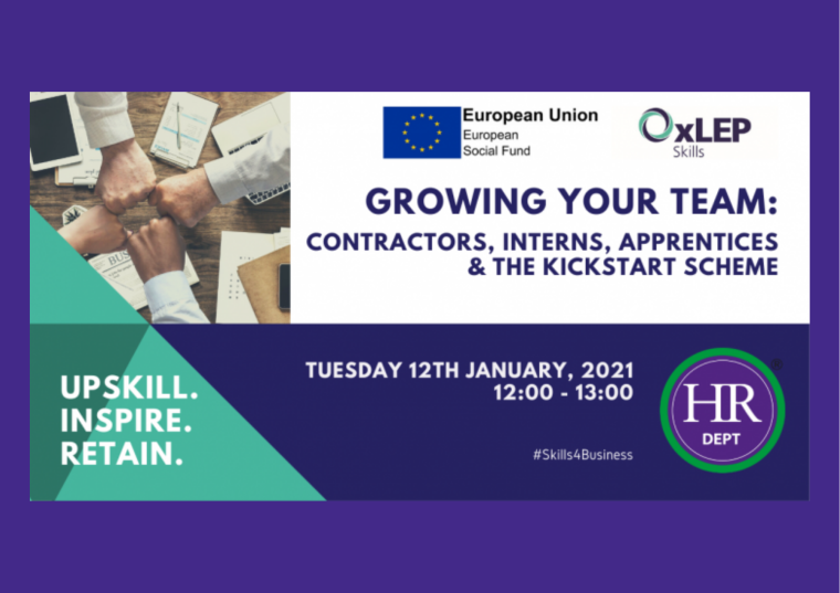 This image is advertising the OxLEP webinar, Growing Your Team: Contractors, Interns, Apprentices and the Kickstart Scheme.