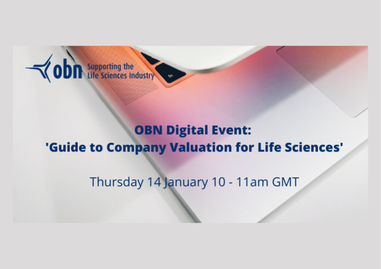 This image is advertising the OBN webinar titled, OBN Digital: 'Life Sciences Company Valuation'.