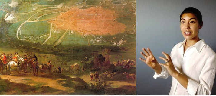 17th century painting of a Civil War battle in Oxford depicting a map and fighting scenes, next to an animated headshot of Erica Charters.