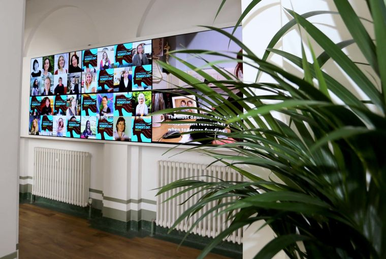 Several screens show a montage of departmental women against a video interview of a student framed behind a reception plant in the foreground