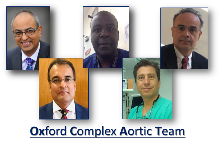 The Oxford Complex Aortic Team - Dr Raman Uberoi, Dr Amar Keiralla, Mr Shakil Farid, Mr Ed Sideso and Mr George Krasopoulos.