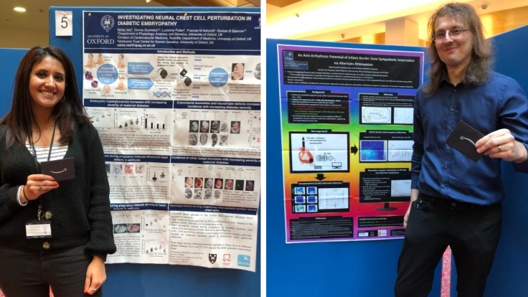 DPAG postdocs and interdepartmental poster session runner up winners Nikki Ved and Jakub Tomek shown in front of their winning poster displays