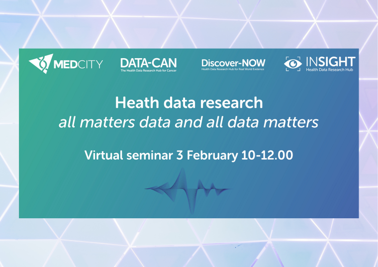 This image is advertising a virtual seminar titled, Health Data Research - all matters data and all data matters. This seminar is being brought to you by MedCity and three of the Health Data Research UK hubs – DATA-CAN, Discover-NOW and INSIGHT.  The seminar is being given on 3rd February 2021 from 10:00 am to 12:00 am.