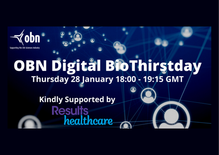 This image is advertising the first digital BioThirstday networking event organised by OBN. This event is taking place on 28th January 2021 from 6:00 pm to 7:15 pm.