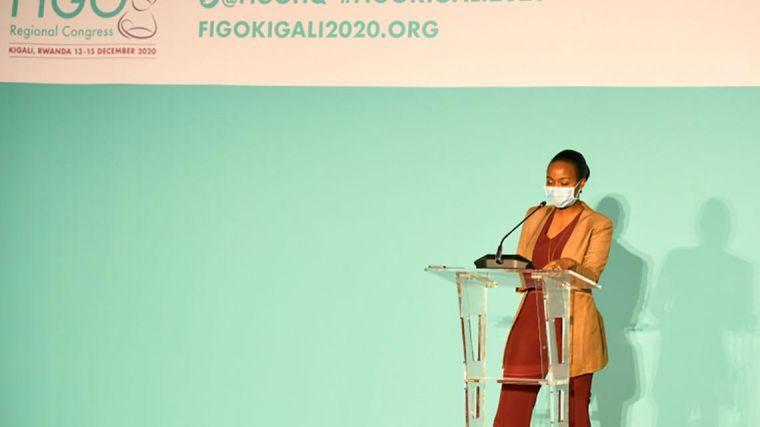 Female speaker presenting at FIGO Africa Regional Kigali Congress 2020.