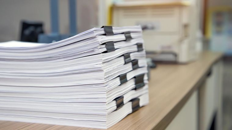 Pile of papers on a desk
