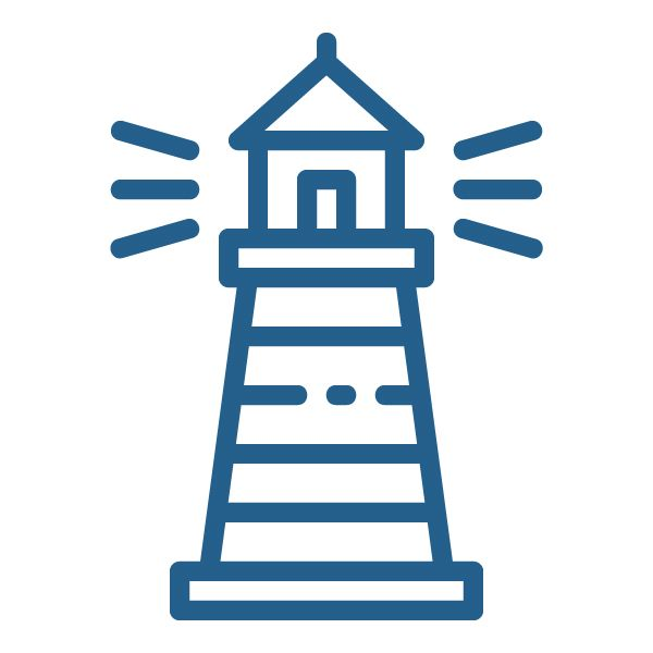 A graphic of a lighthouse