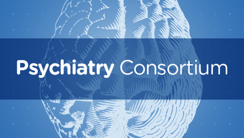 Psychiatry Consortium written with image of a brain