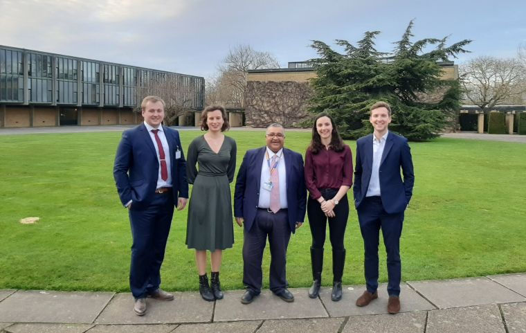 Oxford Surgical Innovation Conference 2020 committee. L to R: Dr Matthew Williams (founder, 2019 Co-President), Solveig Hoppe (2020 Co-President), Professor Ashok Handa (founder, Supervisor), Marta de Andrews (2020 Co-President), and Dr James McVeigh (founder, 2019 Co-Pres).