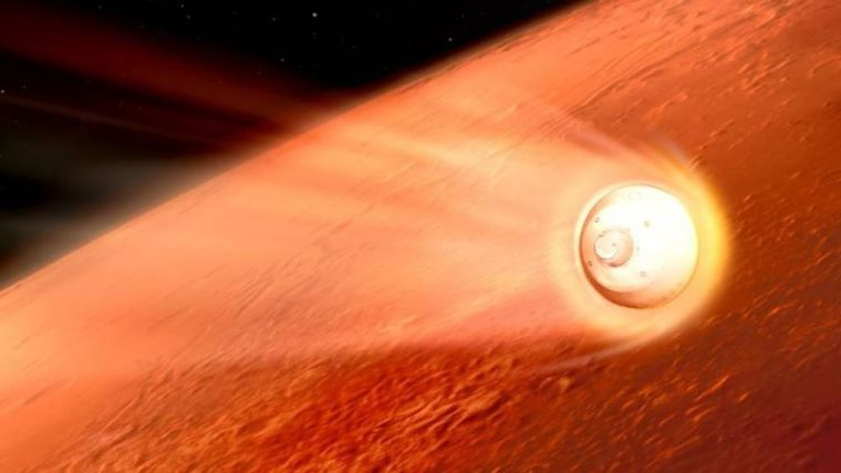 Artist's impression of Perseverance reaching Mars
