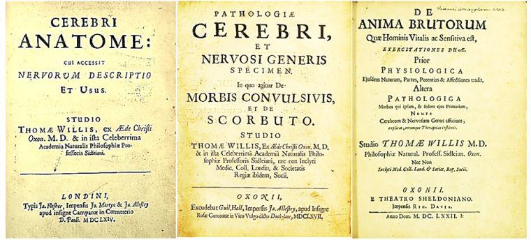 The title pages of Cerebri Anatome, Pathologie Cerebri and De Anima Brutorum