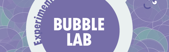 Front cover of the bubble lab experiment kit booklet