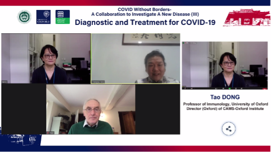 Screenshot of the online seminar COVID Without Borders- A collaboration to Investigate A New Disease III – Vaccine Research and Development