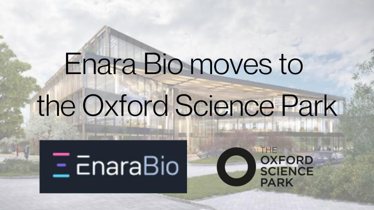 Logo for Enara Bio over image of the oxford science park