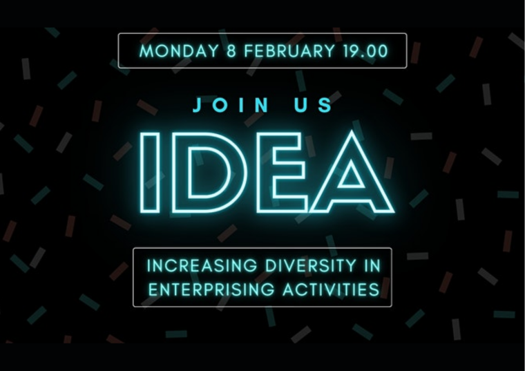 This image is advertising the launch of IDEA, a University of Oxford initiative addressing inequalities in entrepreneurship. The logo for IDEA is the word idea in capital letters, in a blue, neon sign style text.