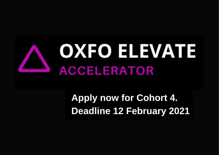 This image is advertising the OXFO Elevate Accelerator Programme. On the image is the OXFO Elevate Accelerator logo, which is a purple triangle with the words OXFO Elevate in white and the word Accelerator in purple. The date of the application period, 12th January to 12th February 2021, is also on the image in white text.