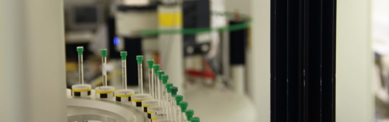 The NMR machine in the lab of James Larkins, with samples lined up to be analysed