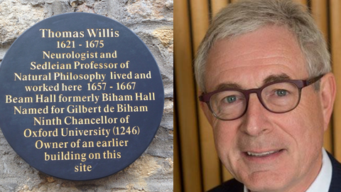 """Beam Hall Thomas Willis plaque reading """"Neurologist and Sedleian Professor of Natural Philosophy lived and worked here 1657 - 1667 Beam Hall formerly Biham Hall named for Gilbert de Biham ninth Chancellor of Oxford University (1246) owner of an earlier building on this site"""", and a headshot of Alastair Buchan."""