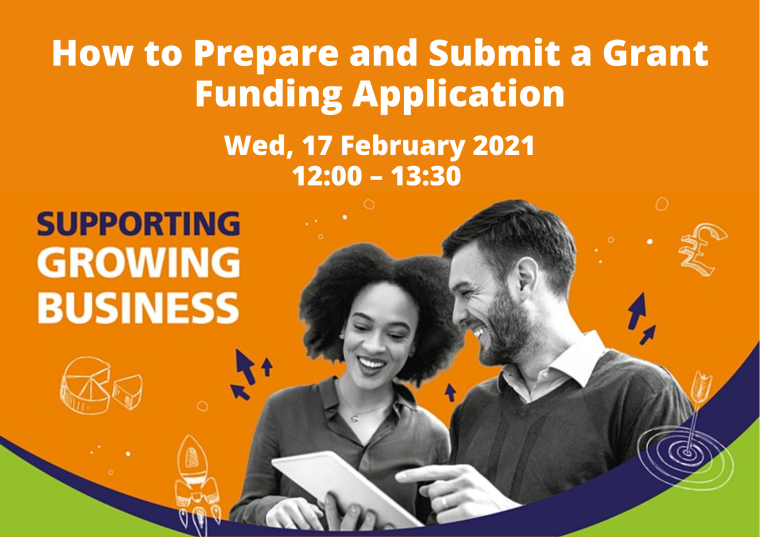 This image is advertising the OxLEP webinar titled, How to prepare and submit a Grant funding Application. This webinar is part of the Supporting Growing Business series. On the image there is a woman and a man stood next to each other smiling, looking at a tablet device.