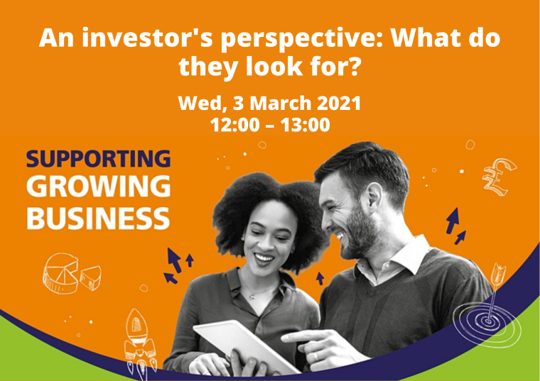 This image is advertising the OxLEP webinar titled, An Investor's Perspective: What Do They Looking For? This webinar is part of the Supporting Growing Business series. On the image there is a woman and a man stood next to each other, smiling, looking at a tablet device.