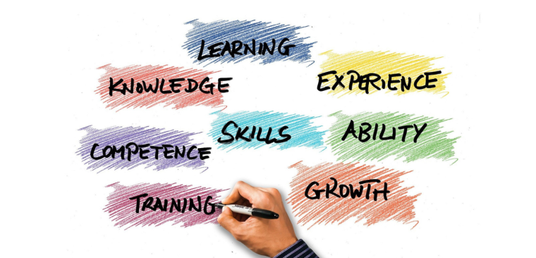 Colourful boxes with the words 'Learning', 'Experience', 'Training', 'Knowledge', 'Skills', 'Ability', 'Growth' and 'Competency'. A hand is at the bottom holding a pen.