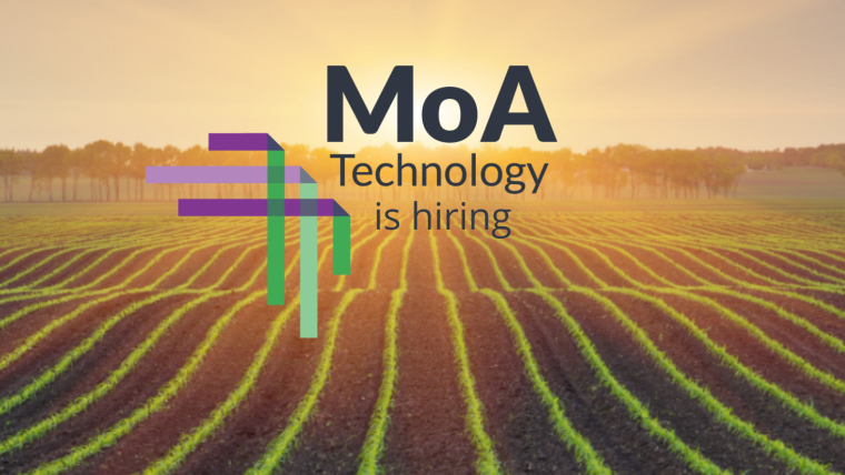 This image is advertising that MoA is hiring. In this image, there is a picture of the sun setting over a crop field lined with trees. The MoA logo is over the top of this picture.