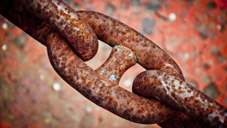 A rusty iron chain