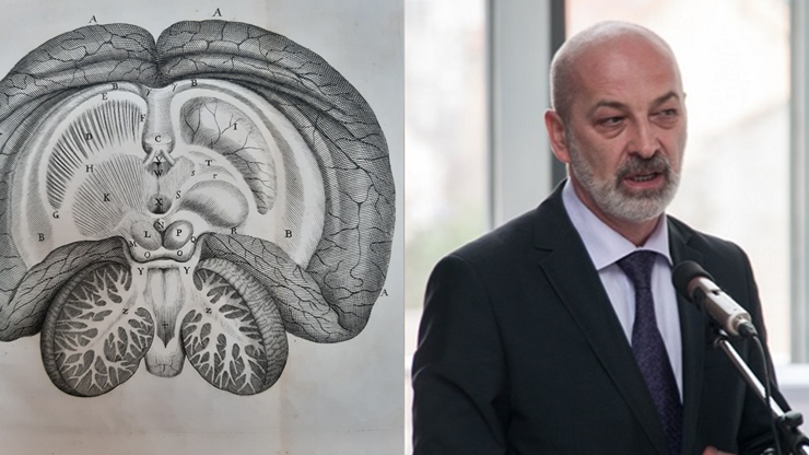 De Anima Brutorum illustration of an adult human brain from above, and Professor Miloš Judaš delivering a lecture