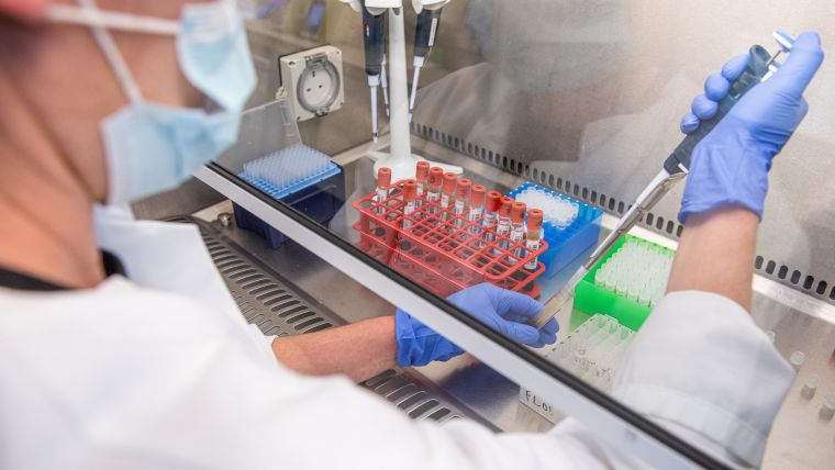 Researcher processing serum in the lab