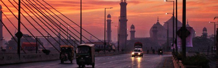 Pakistan street at sunset