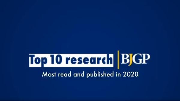Navy blue background with wording 'Top 10 research: most read and published in 2020' with BJGP logo