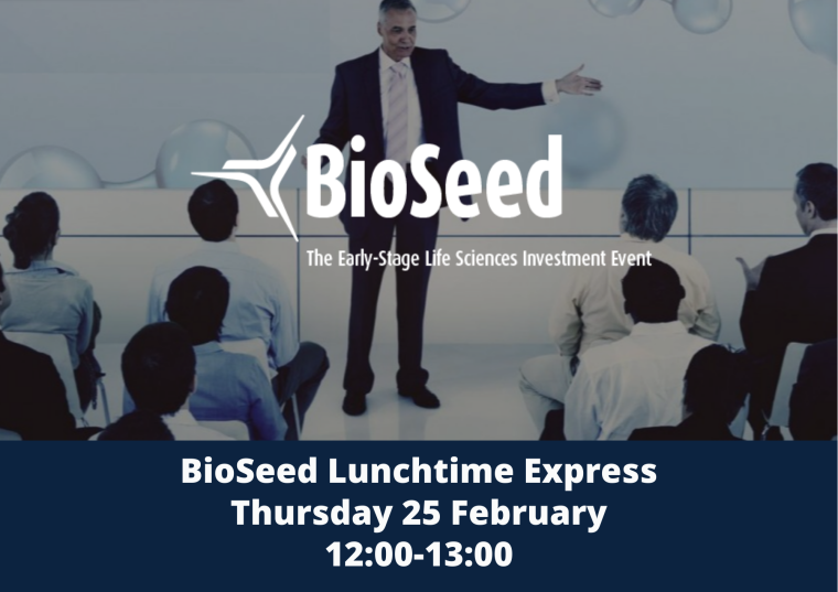 The image is advertising BioSeed Lunchtime Express, a bite-size lunch-hour version of the digital live event BioSeed. The image has a man talking to an audience with the BioSeed logo over-top.