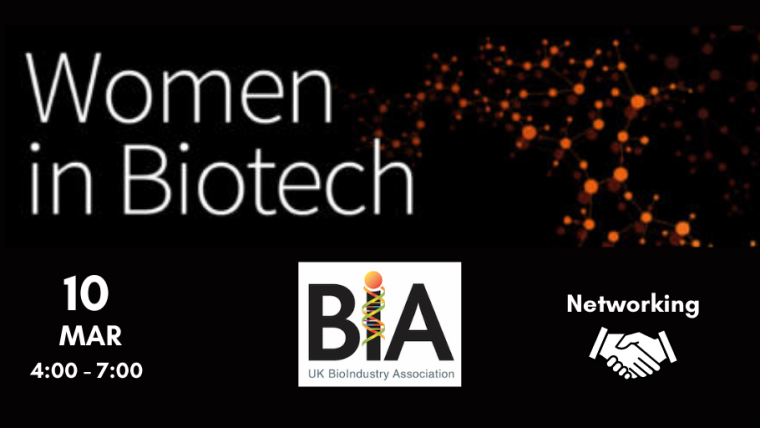 This image is advertising the BIA webinar titled, Women in Biotech - Transatlantic. The image has a black background with small orange circles connected by thin orange lines. The BIA logo is included in the image.