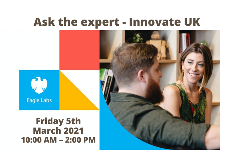 This image is advertising Ask the expert - Innovate UK. The image had a photo of a man and a woman chatting together. The logo is 4 different coloured squares (one white, one white and yellow, one red and one blue) put together to make one large square.