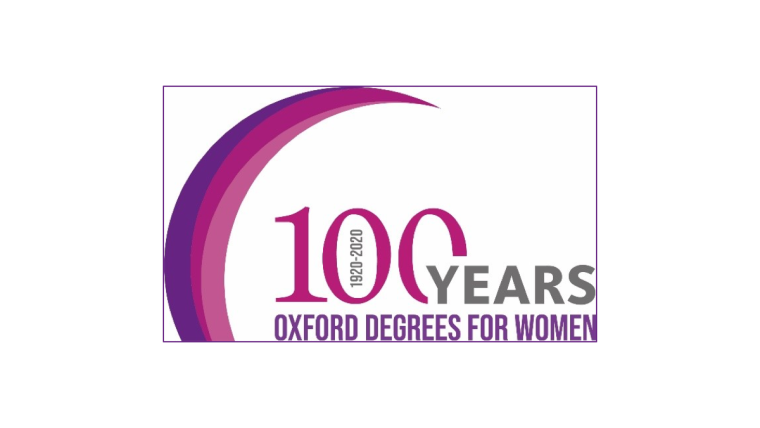 Logo text that says 100 Years Oxford Degrees for Women