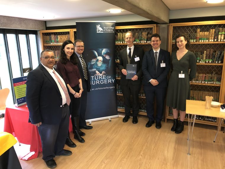 Professors Ashok Handa, Peter McCulloch and Peter Friend with colleagues at the 2020 Oxford Surgical Innovation Conference.