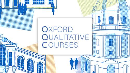 Hand drawn image of Oxford buildings surrounded by people talking, with the logo - Oxford Qualitative Courses.