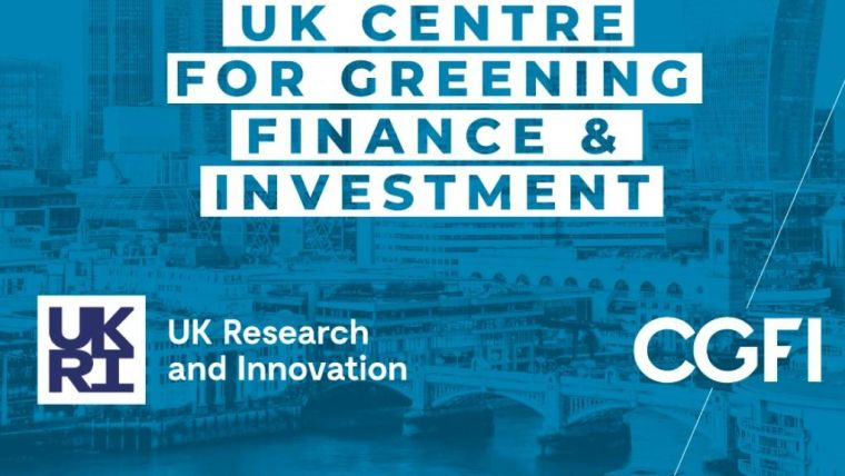 Screenshot form the website of the new UK Centre for Greening Finance and Investment