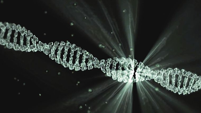 A molecule of DNA with a radiating light representing mutation